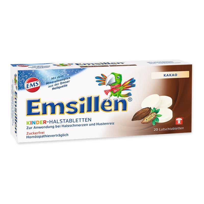 Emsillen comprimés pour la gorge destinés aux enfants avec cacao 20 pce