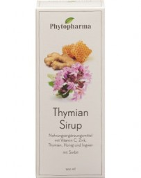 PHYTOPHARMA thym sirop avec vitamine c, zinc, miel et gingembre 200 ml
