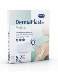 DERMAPLAST Medical Compresses Stériles Non-tissé 7.5 cm x 7.5 cm 5 x 2 Pièces