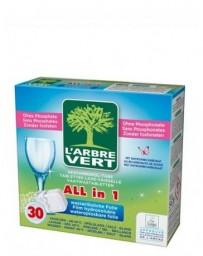 L'ARBRE VERT Tablettes lave-vaisselle écologique All in 1 Hydro 30x